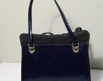 Navy Blue Purse / Vintage Box Purse / 1960s Navy Blue Handbag / Ladies Bag