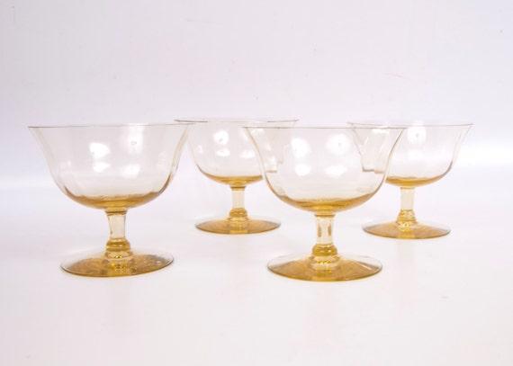 Vintage Amber Sherbet Glasses Fine Optic Panel Glass Low