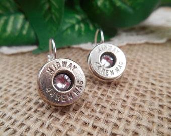 Bullet Jewelry ~ 44 Remington Magnum ~ Diamond Crystal April Birthstone Leverback Earrings