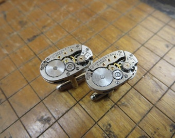 Vintage Elgin Watch Movement Cufflinks. Great for Fathers Day, Anniversary, Groomsmen or Just Because.  #373