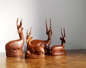Handcarved Wood Figurine Antelope / Gazelle / Set of Four Vintage African Carving