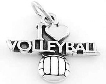Sterling Silver I Love Volleyball Charm