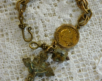 D'OR SWISS vintage repurposed assemblage handmade jewelry bracelet crucifix opal blue green coin chain french atelier paris