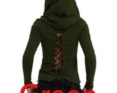 PIXIE HOODIE - assorted colours - Back lacing cotton top, laced up t-shirt, psytrance top, STEAMPUNK Top, LCTOLHsm