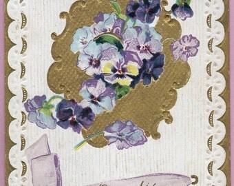 """Ca. 1917 """"Pansies"""" Friendship Greeting Postcard - 1658"""
