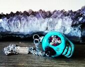 Mexican Skull Necklace - Sugar Skull with Black Rose - Halloween Jewelry - Dia De Los Muertos