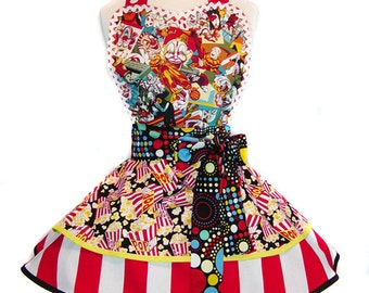 "Exclusive ""Creepy Clowns"" Made-To-Order Diner Pinup Halloween Apron Only From Tie Me Up Aprons"