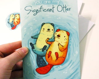 otter card, 'you are my significant otter' anniversary card, valentines day card