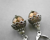 Chunky Brown Earrings - Big Moss Picasso Glass Bead - Oxidized Silver Plated Brass Dangle
