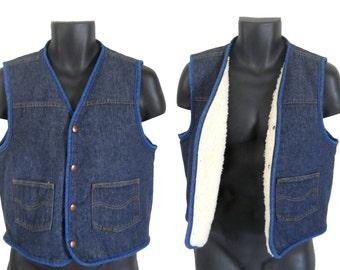 Men Denim Vest Sherpa Vest Blue Jean Vest Retro Vest Men Winter Vest Hipster Vest Sleeveless Denim Vest Jacket Sleeveless Jean Vest Clothing