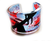 Berlin Wall Graffiti Graphic - transparent acrylic resin bracelet cuff bangle with hand-printed art graphic image