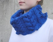 Chunky Cowl Scarf with Cables, Bright Royal Blue, Hand Knit, Warm Acrylic
