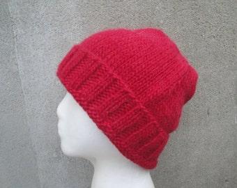 Bright Red Beanie, Slouch Hat, Stocking Cap, Watch Cap, Hand Knit Llama Wool, Men & Teen Boys