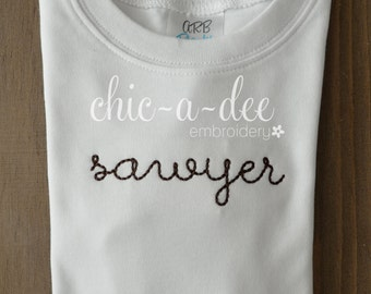 Personalized Hand Stitched Embroidery
