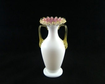 Victorian Era English or Bohemian Made Amber Crest Peach Blow Two Handled Vase - Antique 1890s Art Glass