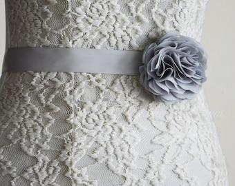 Silver Bridal Sash Belt, Wedding Flower Grey Belt, Dress, Chiffon, Flower Girl, Bridesmaid, Belt and Sashes, Tieback headband