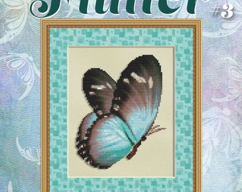 Cross Stitch Pattern Flutter No. 3 Teal Brown Butterfly Instant Download pdf Modern Design