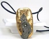 Gold Pyrite Pendant - Entice / Pyrite, Semi-Precious Stone, Gold Leaf