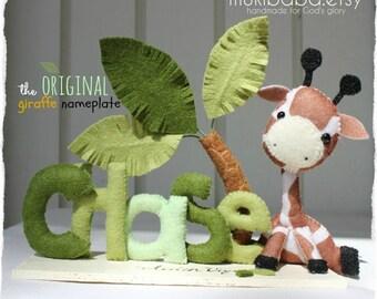 Baby Name - Custom Baby Decor- Personalized Baby Name Art - Baby Giraffe - Children Room Decor - Safari Baby -