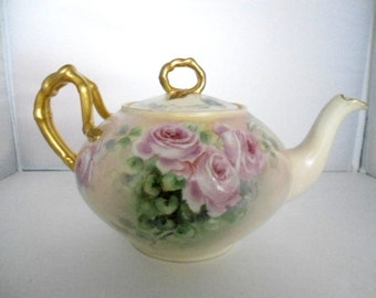 Vintage Teapot marked JPL Jean Pouyat Limoges France in Buttermilk,  Pink and Green with Gold Trim c.1890s