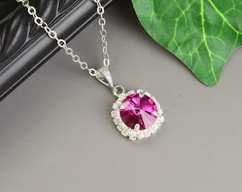 Hot Pink Necklace - Fuchsia Swarovski Crystal Bridesmaid Jewelry - Bridesmaid Necklace - Wedding Jewelry - Bridal Jewelry