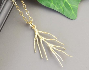 Gold Twig Necklace - Pine Needle Jewelry - Gold Branch Necklace - Branch Pendant Necklace