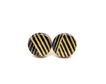 Black and gold Stud Earrings, Japanese Paper, Chiyogami, Washi, Lasercut wood, Resin, very lightweight, Gift under 10, dressy, Yuzen