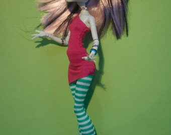 Monster High clothes party outfit striped leggings and pink top