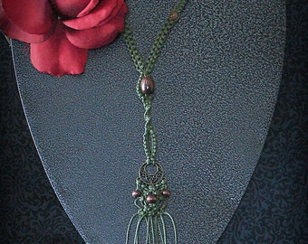 1491-Handmade Olive Green & Bronze Macrame Necklace