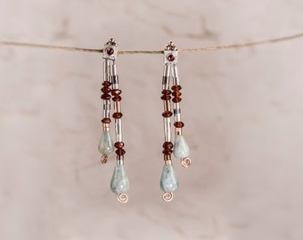 Long Earrings, Aquamarine Earrings, Garnet Earrings, Aquamarine Studs, January Birthstone, Aquamarine and Garnet Earrings, Gold & silver