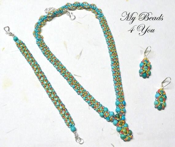Beadwork Necklace,Bracelet,Beadwork Earrings,Beaded Jewelry Necklace,Beadwoven Bracelet,Seed Bead Jewelry,Jewelry Gift Set, Beadwork Jewelry
