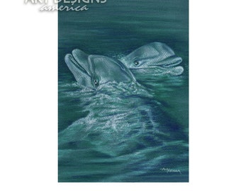 ACEO Dolphins, Porpoises, Archival Art Print, Wildlife Sealife Pastel, SFA Small Format Art, Artist Trading Card, Dolphin Drawing, ADA-P403