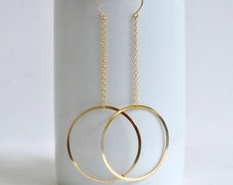 Circle Earrings- Geometric Earrings- 14k Gold Filled Earrings- Sculptural Earrings- Statement Earrings- Extra Long Earrings- Fun Earrings