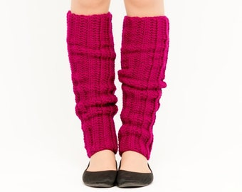 SALE--Magenta Crocheted Leg Warmers, Handmade Knit Ankle Warmers, Dance Wear, Ballet, Women's Warm Soft Winter Accessory, 80's Style