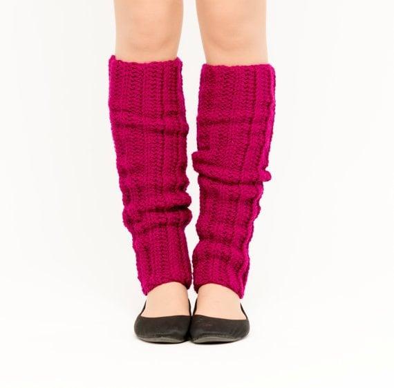 Magenta Crocheted Leg Warmers, Handmade Knit Ankle Warmers, Dance Wear, Ballet, Women's Warm Soft Winter Accessory, 80's Style