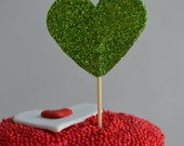 Valentine's Day. Shiny Green Glitter. Heart Shape Cupcake Topper. 20 pieces.