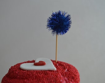 Navy Blue. Glitter Pom Pom Cupcake Toppers. 20 Pieces.