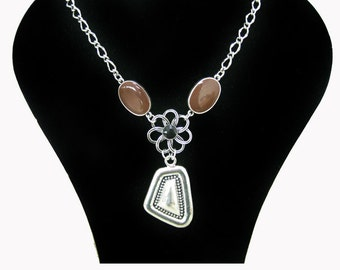 Pewter necklace pendant silver plated, brown lacquered pendant