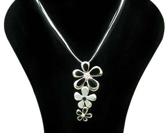 Pewter necklace pendant silver plated, three flowers
