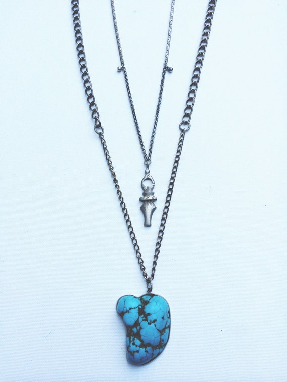 Barbosa Turquoise Pendant Necklace -- turquoise howlite pendant & reclaimed chain necklace