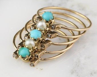 Antique Stacking Hinged Pearl Turquoise and Diamond Ring in 18k Rose Gold