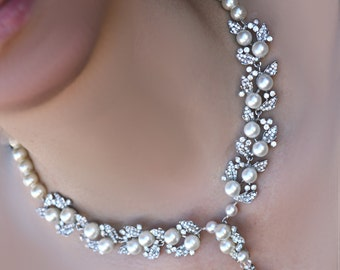 Bridal Jewelrt - Swarovski crystal and pearl necklace