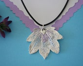 SALE Leaf Necklace, Silver Full Moon Maple Leaf, Real Leaf Necklace,Silver Full Moon Maple Leaf Pendant, SALE43