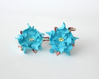 10 pcs - 4 cm Bright blue gardenia flower