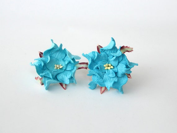 10 pcs 4 cm Bright blue gardenia flower