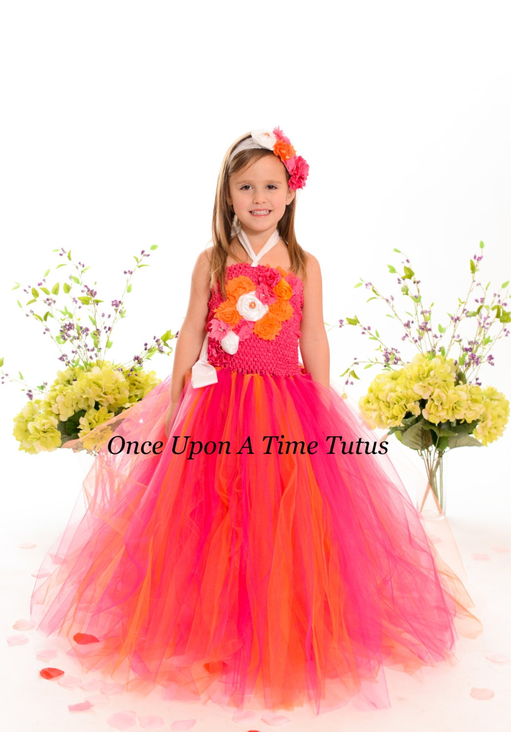 Hot pink and orange flower girl dresses discount wedding for Pink and orange wedding dresses