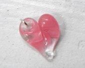 Baby Glass Heart Small Charm, Teeny Tiny Heart,  Lampwork Hand Blown Boro Pink