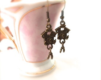 Vintage Style Brass Cuckoo Clock Earrings. Teeny Miniature Clock. Cute Whimsical Oddities. Gifts for Her. Brass. Under 10
