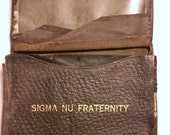 Antique Vintage WWI Navy Sigma Nu Fraternity Wallet with Picture, I.D. Card and Member Card