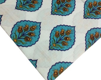 Indian Cotton Fabric in Teal and White Floral Print - Soft Fabric - Cotton Fabric by Yard